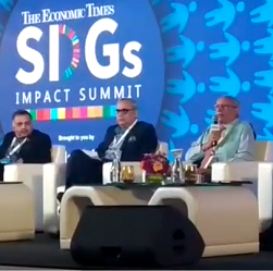 Pradip Burman addressing the issue of plastics at the Economic Times SDGs Impact Summit 2019